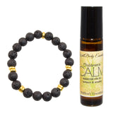 "Children's 8mm Lava Stone Beaded Stretch Bracelet (Goldtone) with 10ml Children's ""CALM"" Essential Oil - Wearable Aromatherapy Gift Set"