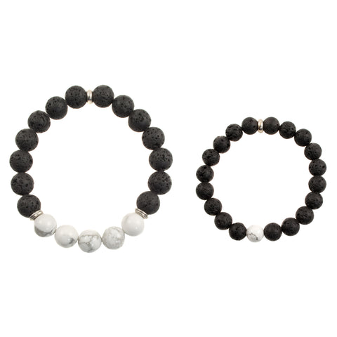"Matching ""Dad and Me"" Black Lava and White Howlite Beads - Stretch Bracelet (Silvertone)"