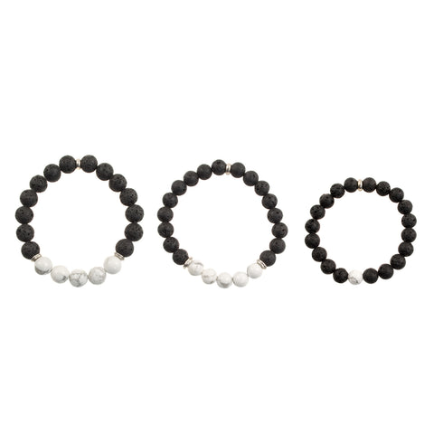 "Matching ""Dad, Mom and Me"" Black Lava and White Howlite Beads - Stretch Bracelets (Silvertone)"