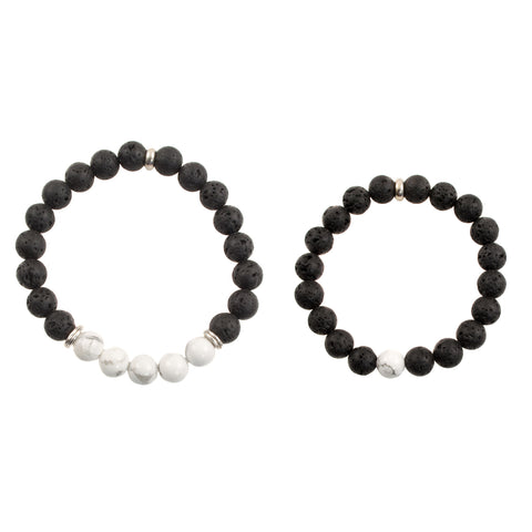 "Matching ""Mom and Me"" 8mm Black Lava and White Howlite Beads - Stretch Bracelet (Silvertone)"