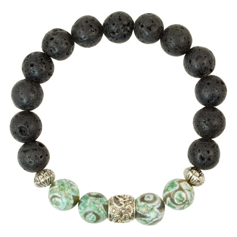 "Tibetan Agate ""Swirling Eye"" Green Beads with Lava Beads and Silver Plated Spacers - Gemstone Stretch Bracelet"