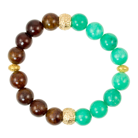 Dyed Green Jade and Caramel Aqua Nueva Agate Beads with Gold Plated Spacer Bead - Gemstone Stretch Bracelet
