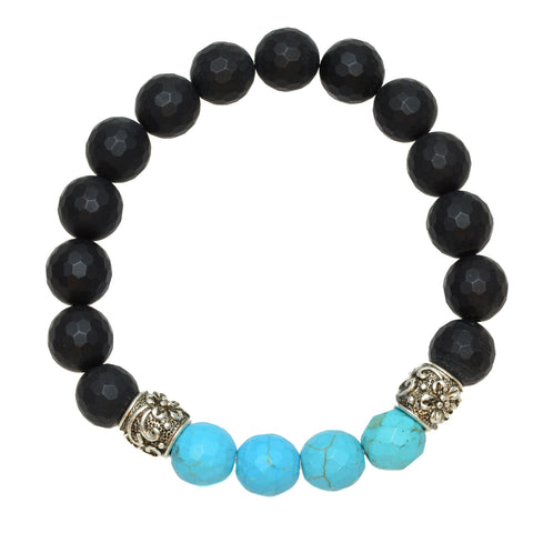 Black Faceted Onyx with Turquoise Beads and Silvertone Tibetan Spacers - Gemstone Stretch Bracelet
