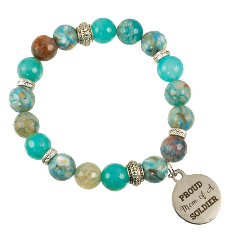 "Blue Fire Agate and Shell Beads with Sterling Silver Tibetan Beads and ""PROUD Mom of a SOLDIER"" Charm - Gemstone Stretch Bracelet"