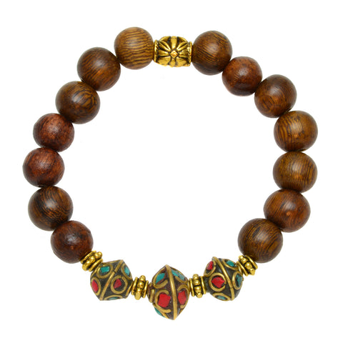 Wood Beads with Tibetan Turquoise and Coral Beads and Brass Spacers - Gemstone Stretch Bracelet