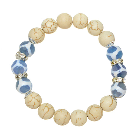 Blue Tibetan Agate and Cream Howlite with Cubic Zirconia Spacers - Gemstone Stretch Bracelet