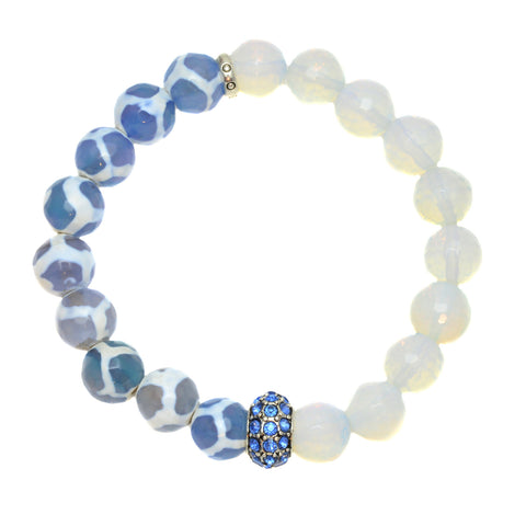 Blue Tibetan Agate with Opalite and Silver Plated Blue Rhinestone Bead - Gemstone Stretch Bracelet