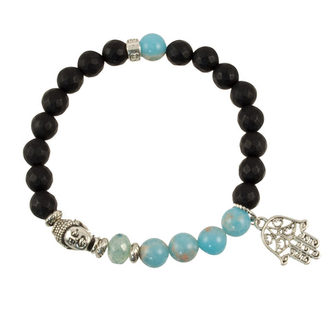 Black Onyx and Sea Sediment Beads with Silver Plated Buddha and Hamsa Hand Charm - Gemstone Stretch Bracelet