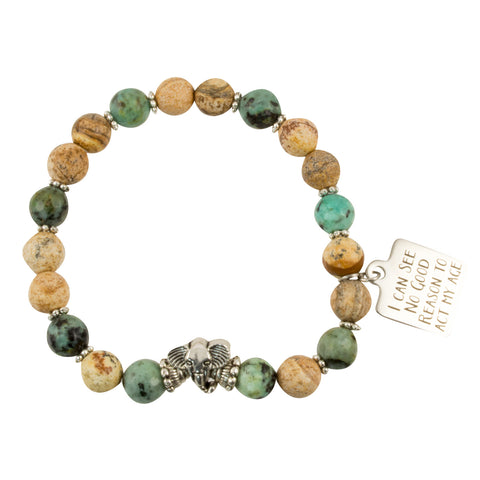"Picture Jasper and African Turquoise Beads with ""I Can See No Good Reason To Act My Age"" Charm - Gemstone Stretch Bracelet"
