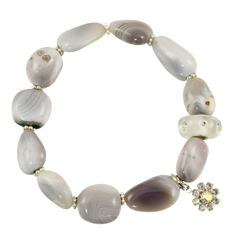 Polished Botswana Agate Stones with Resin CZ Clear Accent Bead - Gemstone Stretch Bracelet
