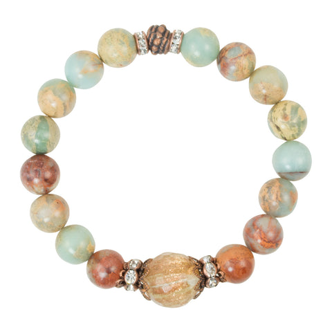 Snakeskin Jasper Beads with Rutilated Quartz Focal Bead and Copper Accents - Gemstone Stretch Bracelet