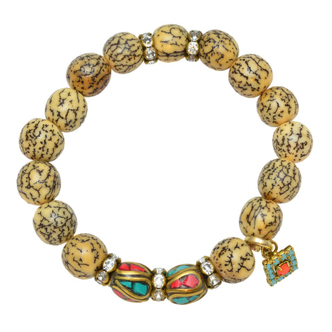 Betel Nut Beads with Tibetan Beads and Crystal Charm - Gemstone Stretch Bracelet