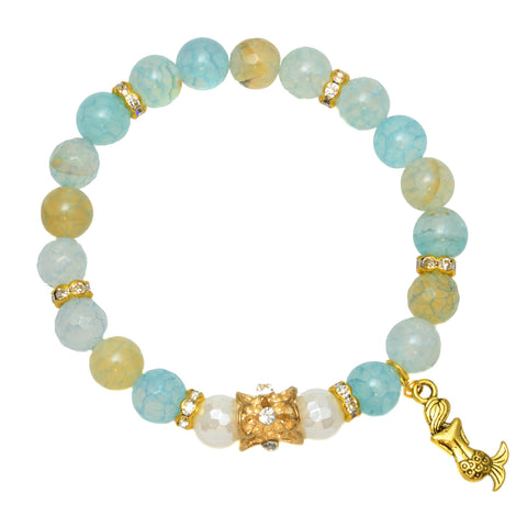 Blue Fire Agate Beads with Shell Pearls and Goldtone Mermaid Charm - Gemstone Stretch Bracelet