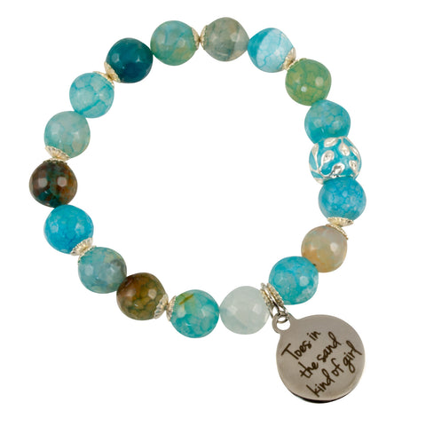 "Cyan Blue-Green Fire Agate with Silver Plated Czech Bead and ""Toes in the sand kind of girl"" Charm - Gemstone Stretch Bracelet"
