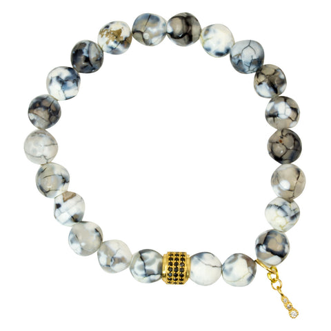 Faceted White/Grey Crackle Agate Beads with Gold Plated Spacer Bead with Black Onyx Accents - Gemstone Stretch Bracelet