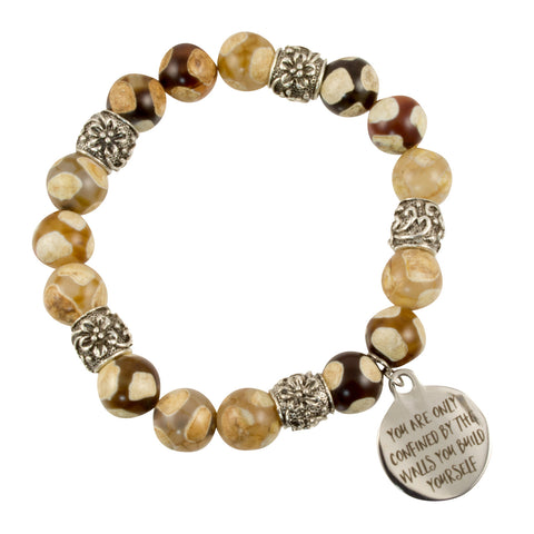 "Tibetan Agate Beads with Silver Plated Barrel Spacers and ""You Are Only Confined by the Walls You Build Yourself"" Charm - Gemstone Stretch Bracelet"