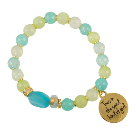 "Blue Green Agates with Sea Glass Focal Bead and Gold Plated CZ Spacers with ""Toes in the Sand"" Charm - Gemstone Stretch Bracelet"