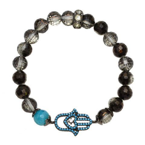 Black Glass Czech Beads and Blue Agate Bead with Pave Hamsa Hand - Gemstone Stretch Bracelet