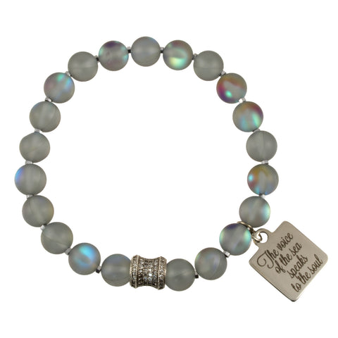 "Iridescent Matte Gray Crystal Glass Beads with Stainless Steel CZ Spacer Bead and ""The Voice of the Sea Speaks to My Soul"" Charm - Gemstone Stretch"