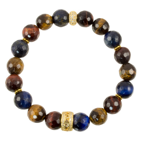 Blue and Golden Tiger Eye Beads with Gold Plated Pave CZ Spacers - Gemstone Stretch Bracelet