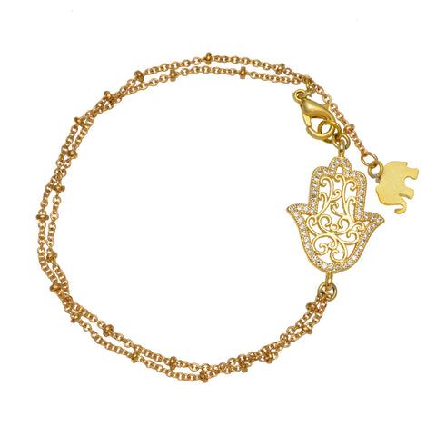 Gold Plated Hamsa Hand on Satellite Chain with Elephant Charm - Link Bracelet