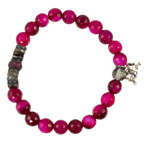 Deep Pink Jade with Labradorite Spacers and Pink CZ Bead and Silver Plated Bow Charm - Gemstone Stretch Bracelet