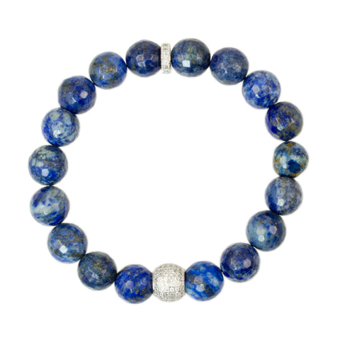 Blue Sodalite Beads with Sterling Silver Cubic Zirconia Accent Bead - Gemstone Stretch Bracelet