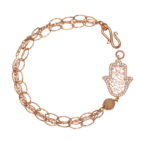 Rose Gold Plated Hamsa Hand with Satin Bead and Delicate Oval Chain - Link Bracelet