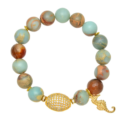 Aqua Terra Jasper Beads with Brown Agate Beads and Gold Plated Pave Egg - Gemstone Stretch Bracelet