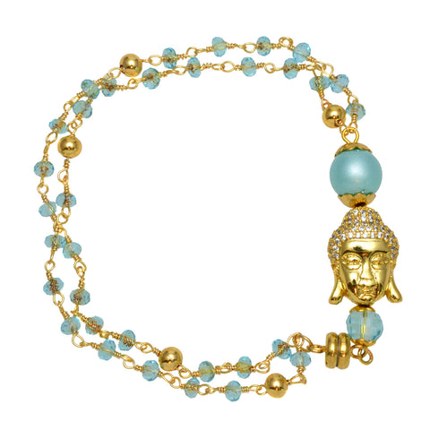 Gold Plated Buddha Charm with Blue Jade and Pacific Blue Crystal Beaded Chain - Link Bracelet