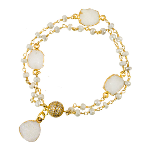 Beaded White Sapphire Gold-Filled Chain with Gold Plated White Sapphire Druzy and Pave CZ Magnetic Clasp - Link Bracelet