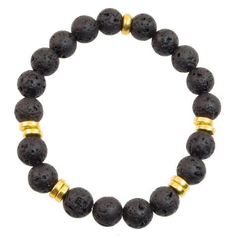 Children's 8mm Black Lava Beads - Stretch Bracelet (Goldtone)