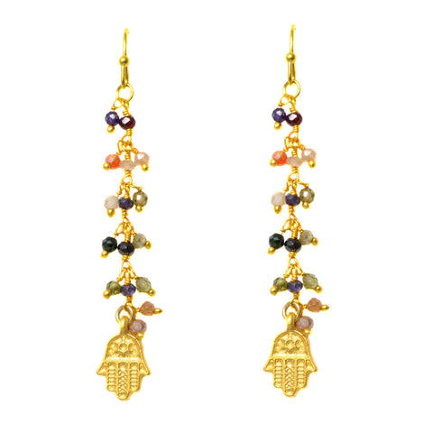 Tourmaline Beaded Gold Plated Chain with Matte Gold Plated Hamsa Hand - Dangle Earrings
