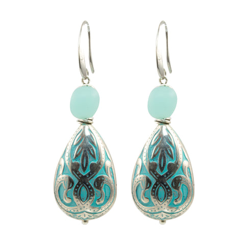 Aqua Silver Plated Scroll Teardrop Bead with Sea Glass Bead Accent - Dangle Earrings