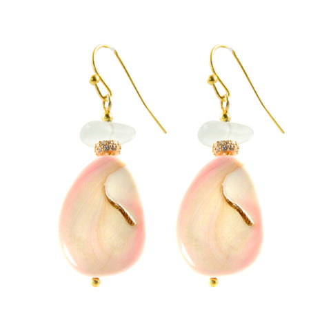 Pink Conch Shell Slice with Light Blue Sea Glass Accent Bead in Gold Plated Finish - Dangle Earrings