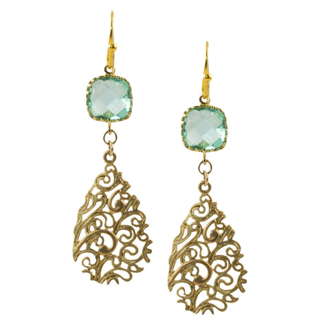 Blue-Green Faceted Glass Square with Gold Plated Filigree Drop - Dangle Earrings