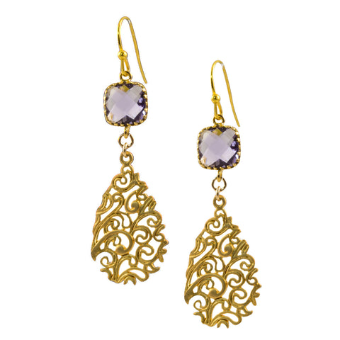 Plum Faceted Glass Square with Matte Gold Plated Filigree Teardrop - Dangle Earrings