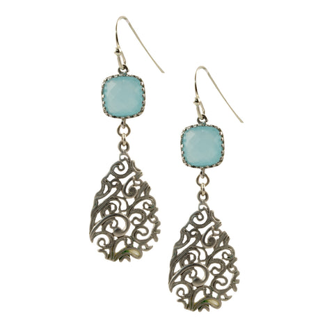 Aqua Faceted Glass Square with Matte Silver Plated Filigree Teardrop - Dangle Earrings