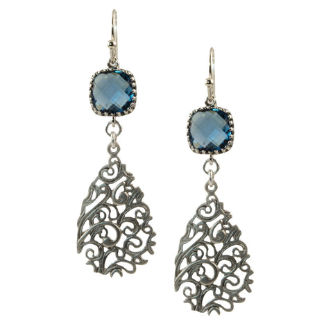 Montana Blue Faceted Glass Square with Matte Silver Filigree Teardrop - Dangle Earring