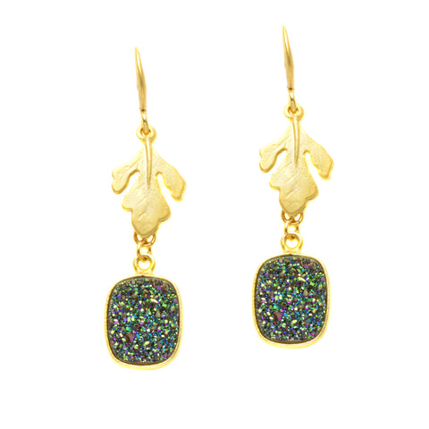 Matte Gold Plated Oak Leaf with Blue Green Druzy - Dangle Earrings