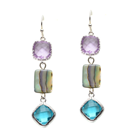 Silver Plated Triple Stone Pink Czech Glass with Abalone and Aqua Czech Glass Drops - Dangle Earrings