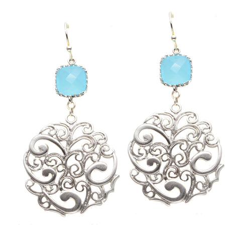 Silver Plated Filigree Circle with Faceted Czech Glass Aqua Square - Dangle Earrings