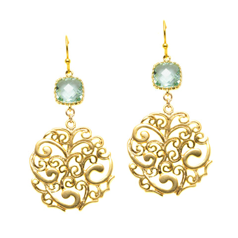 Gold Plated Filigree Circle with Faceted Ernite Glass Square - Dangle Earrings