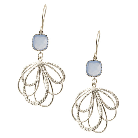 Light Powder Blue Faceted Czech Glass Accent on Silver Plated Drooping Flower Design - Dangle Earrings