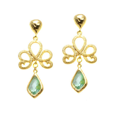 Curly Gold Plated Design with Faceted Ernite Green Czech Glass - Dangle Earrings (Post-Back)