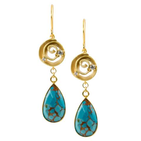 Copper Turquoise Teardrop on Matte Gold Swirl with CZ Accents - Dangle Earrings