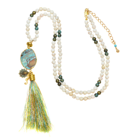 18k Gold Rimmed Sea Opal Druzy with White Howlite and Sea Charms - Tassel Pendant Necklace