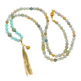 Green Banded Agate with Mint Agate and Aqua Terra Jasper Beads with Goldtone Sea Charms - Tassel Pendant Necklace