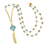 Abalone Square and Pave Gold Plated Feather on Czech Glass Beaded Chain - Pendant Necklace