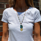 Gold Rimmed Ocean Jasper with Mermaid Disk and Abalone Beaded Chain - Pendant Necklace
